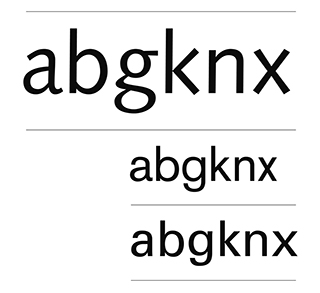 Characteristic Syntax letters, compared to Akzidenz Grotesk and Univers.