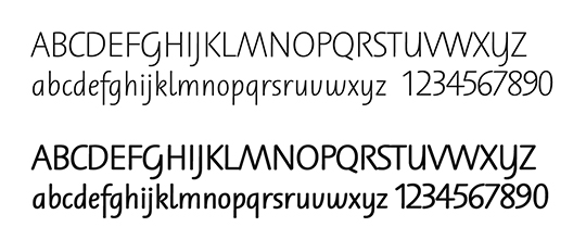 H. E. Meier, Schulschrift typeface, regular and bold.