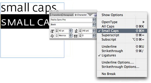 Small Capitals in Adobe applications