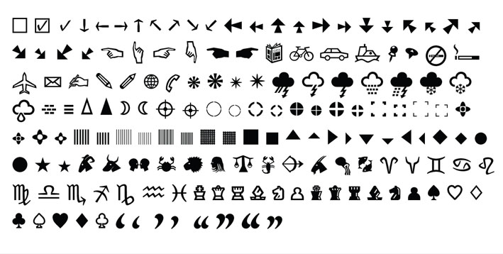 Greta family includes a collection of useful symbols
