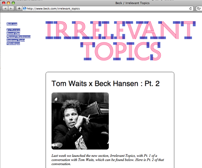 History used on the website of musician Beck