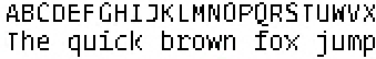 Black and White rendering of an unhinted font, at 12 ppem, magnified to 200%